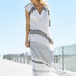 Женское пляжное платье-накидка, Пляжное Платье в полоску, туника, 9401
