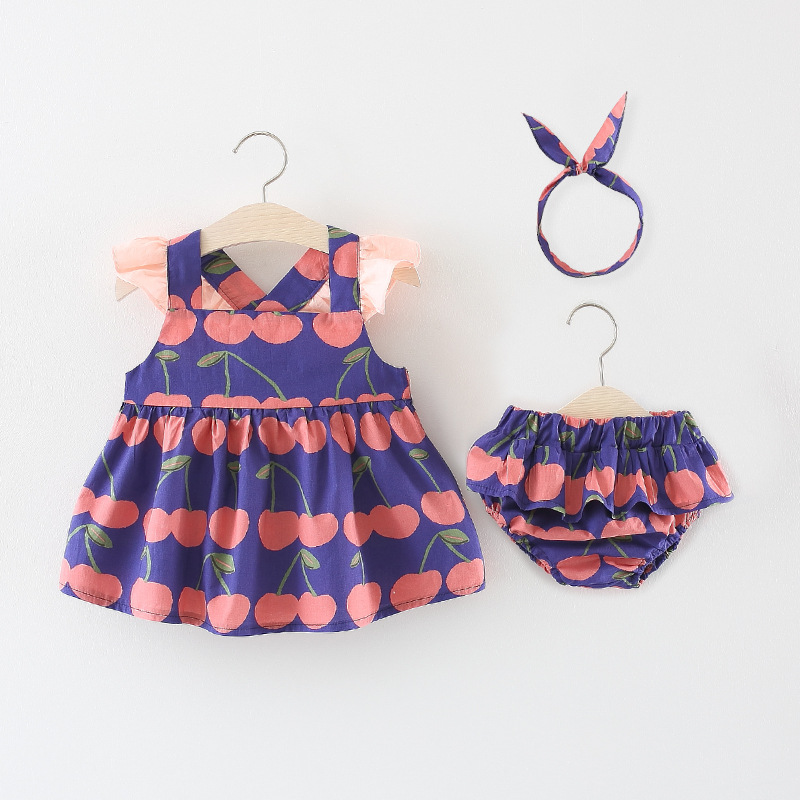 New Baby Clothes Summer Printing Neonatal Girls Clothes Sets Sleeveless Top+Triangular Shorts Comfortable Children Clothes
