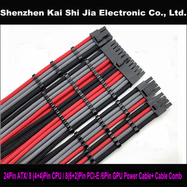 """12/"""" Single Sleeved Black /& Red PCI-E GPU 8 Pin to 6+2 Pin CPU Power Cable RoHS"""