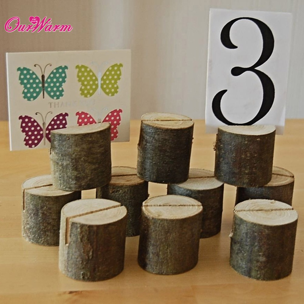 OurWarm 50pcs/Lot Natural Wooden Card Holder Seat Folder Rustic Photo Holder Wedding Place Card Table Number Holder