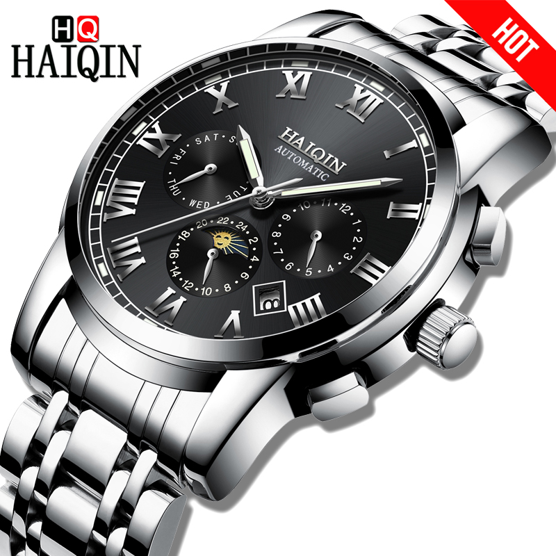 New HAIQIN Luxury Business Men Watches Mechanical sports Chronograph Waterproof steel Male Wristwatch Calendar Moon Phase