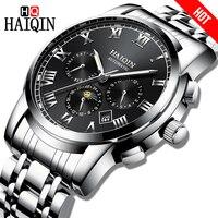 Novo haiqin luxo relógios masculinos de negócios mecânicos esportes cronógrafo à prova dwaterproof água aço masculino relógio de pulso calendário fase da lua