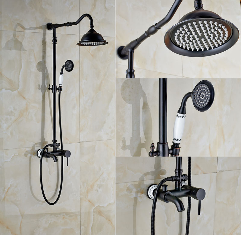 New Promotion Oil Rubbed Bronze Bathtub Shower Faucet Wall Mount Bath Rainfall Shower Mixer Tap