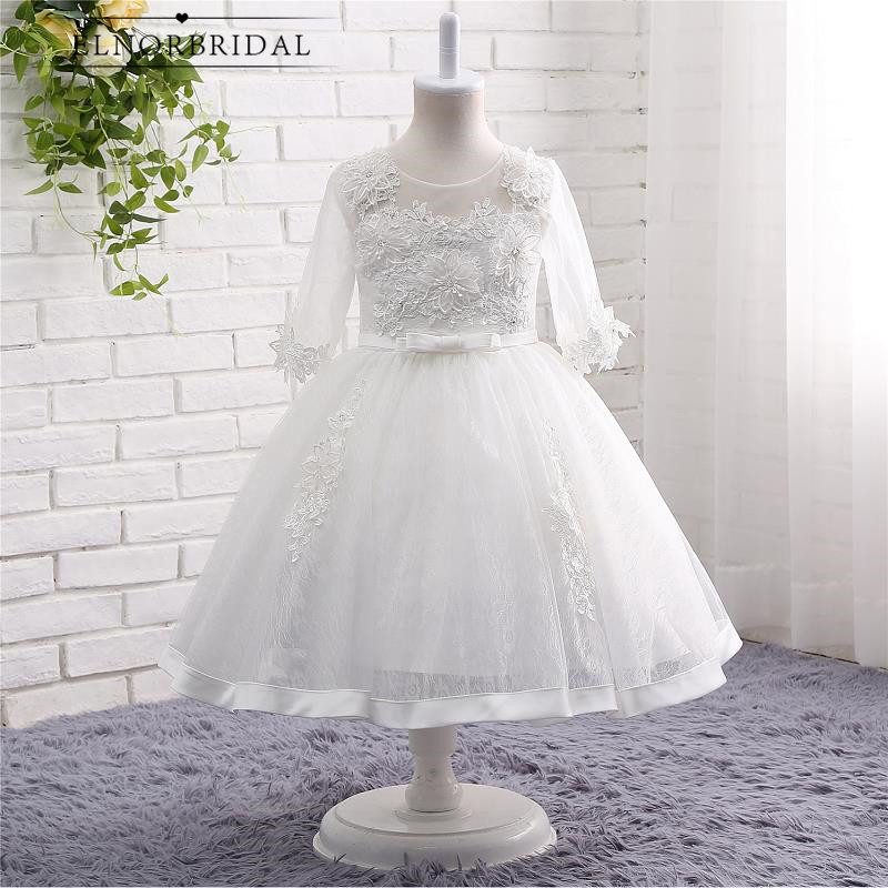 White Ivory   Flower     Girl     Dresses   Floor Length 2019 Vestido De Daminha Long Sleeves Kids Evening Gowns   Girls   First Communion   Dress