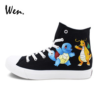 Wen Cartoon Anime Pokemon Hand Painted Shoes Squirtle Dragonite Custom Design Pocket Monster Painting Graffiti Canvas