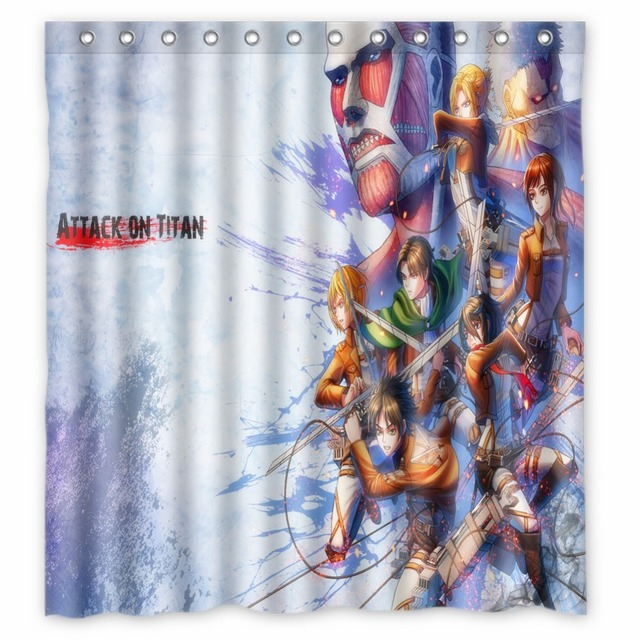 Anime Shower Curtain One Piece Dragon Ball Z Bleach Fairy Tail Naruto Together Attack On Titan