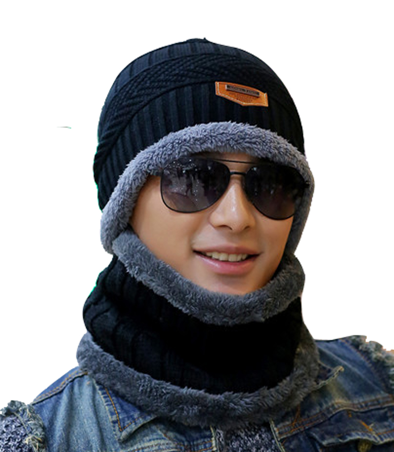 цена на Unisex Fashion Hats Men Winter Warm Outdoor Wool Women Hat and scarf Set hooded Cap Earmuffs Head Caps beanie Balaclava Ski Mask