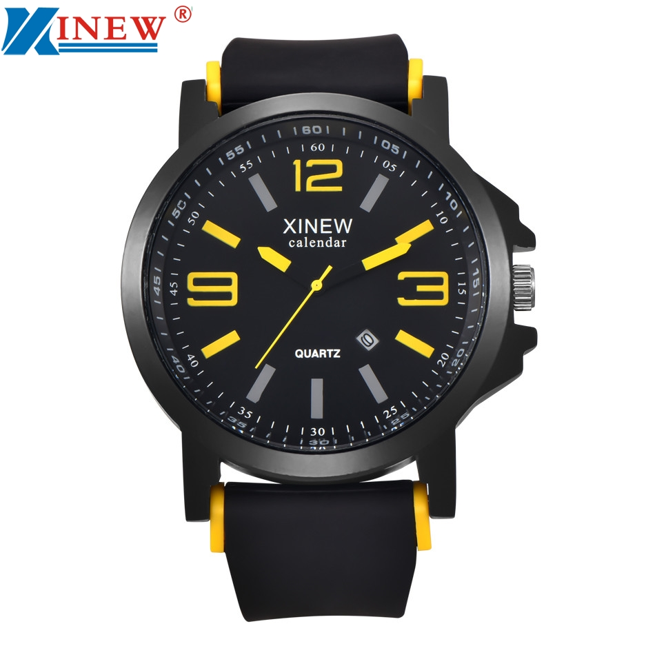 a931a7d26 XINEW Fashion Luxury Outdoor Sports Men s Watch Calendar Date Mens Steel  Analog Quartz Watch Wrist Watches D1202