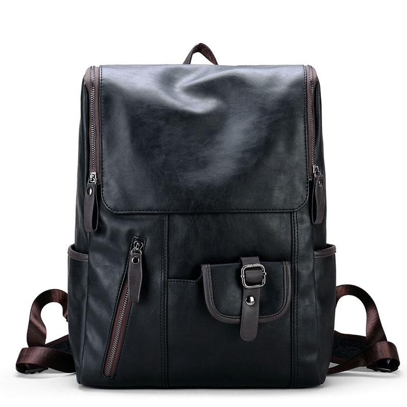 2018 PU Leather Man Travel Bag Mountaineering Backpack Male Luggage Boys Shoulder Bags Mens Large Capacity Casual Backpacks kerui pu mountaineering men s travel bags backpacks outdoor lesbian genuine large capacity