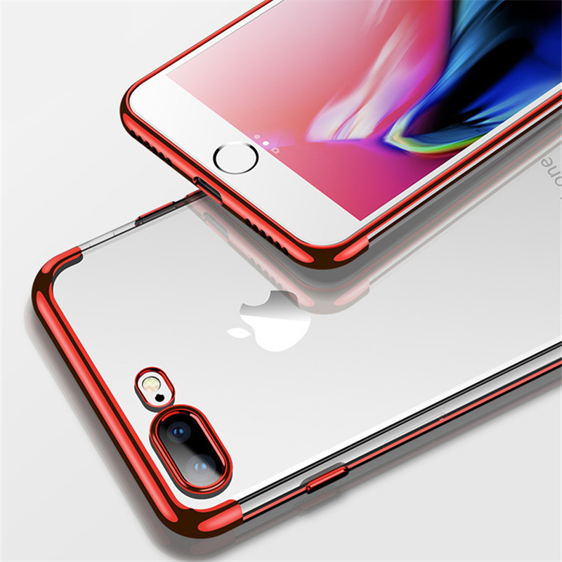 Newest Gold Pating Soft Clear TPU Protection Case For iPhone 6 6S 7 8 Phone Back Cover For iPhone X 6 Plus 7 6S 8plus