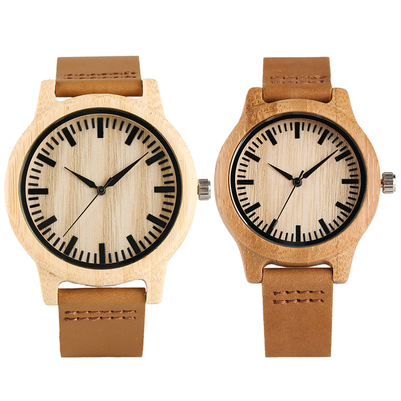 Minimalism Nature Bamboo Watch For Men Women Quartz Wristwatch For Lover's Hot Fashion Clock Gifts Boyfriend Girlfriend