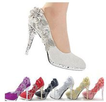 Wedding Shoes Glitter Gorgeous Bridal Evening Party Crystal High Heels Women Shoes Sexy Woman Pumps  silver Bridal Shoes 6 color