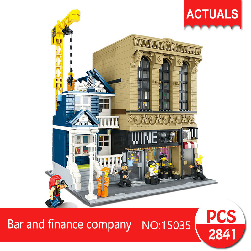 Lepin 15035 2841Pcs Street View series Bar and finance company Model Building Blocks Set  Bricks Toys For Children Gift jaynal ud din ahmed and mohd abdul rashid institutional finance for micro and small entreprises in india
