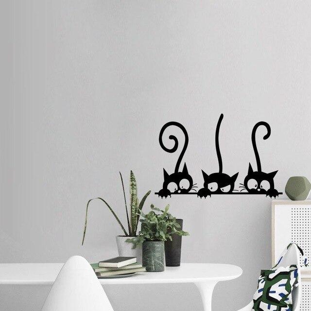New Childrenu0027s Cartoon Wall Stickers Three Kittens Bedroom Decorative  Stickers