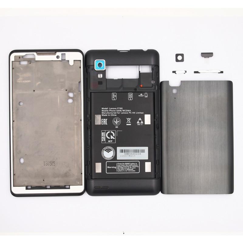 imágenes para 100% Nuevo LCD Marco Frontal tapa de La Batería Puerta de Atrás cubierta de la Cubierta Para Lenovo P780 Con el USB de La Cubierta + de Volumen de Energía botones
