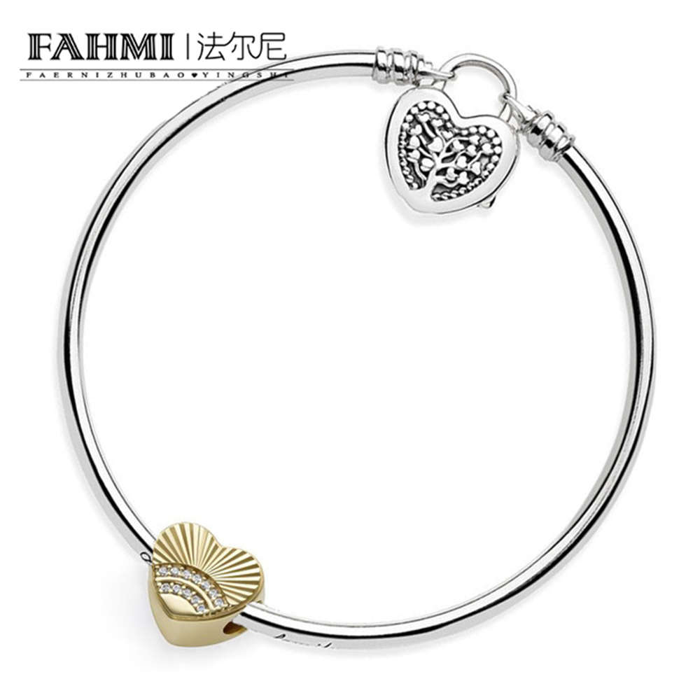 FAHMI 100% 925 Sterling Silver Genuine Charm Love Shell and Life Tree Bracelet Set Valentines Day Gift Fit Wedding VintageFAHMI 100% 925 Sterling Silver Genuine Charm Love Shell and Life Tree Bracelet Set Valentines Day Gift Fit Wedding Vintage