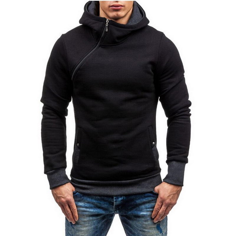 Laamei 2019 Men Hoodie Oblique Zipper Sweatshirt Mens Hip Hoodies Fashion Brand Autumn Winter Slim Male Hoodies Pullover