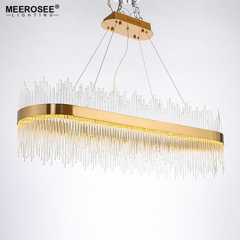 Moderne pendentif LED lumière cristal tiges suspension lampe pour salle à manger or ovale suspension luminaire Abajur