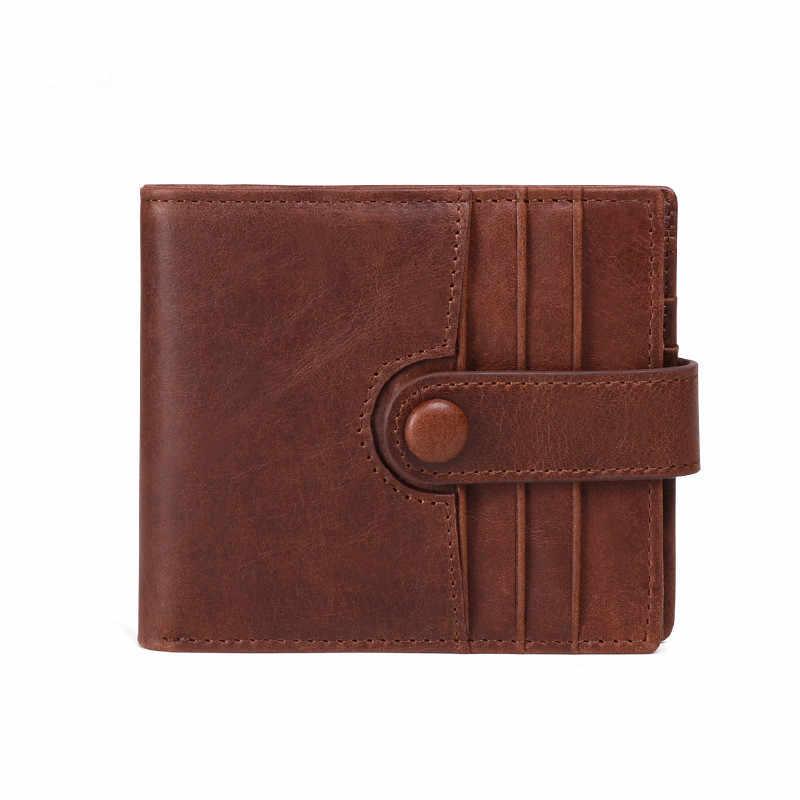 Фирменный новый мужской кошелек из натуральной кожи RFID Блокировка короткий мульти держатель для кредитных карт монета карман бизнес с застежкой кошелек для мужчин