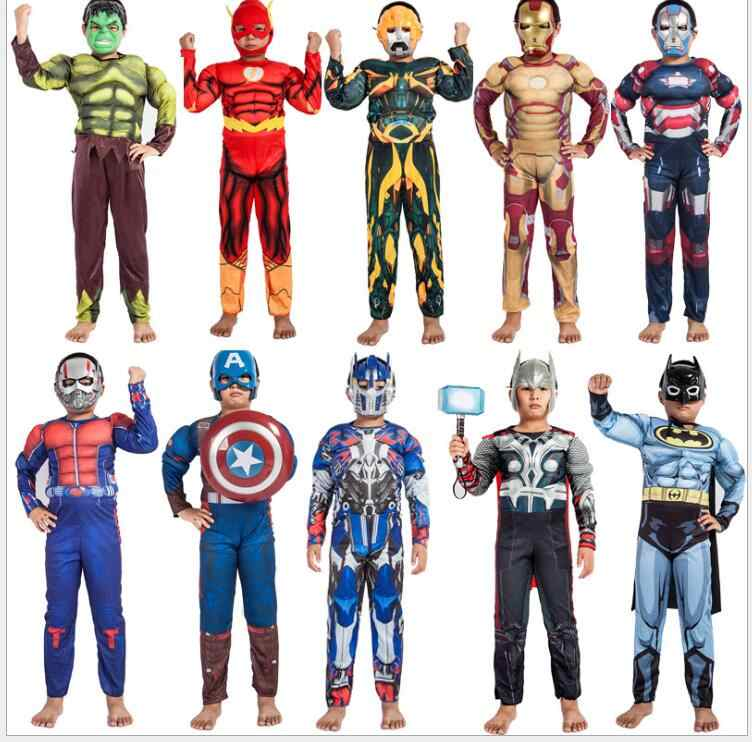 Super Hero  Clothes Jumpsuit Captain America Superman Batman Hulk IronMan Thor Muscle Cosplay Costumes Halloween Gift