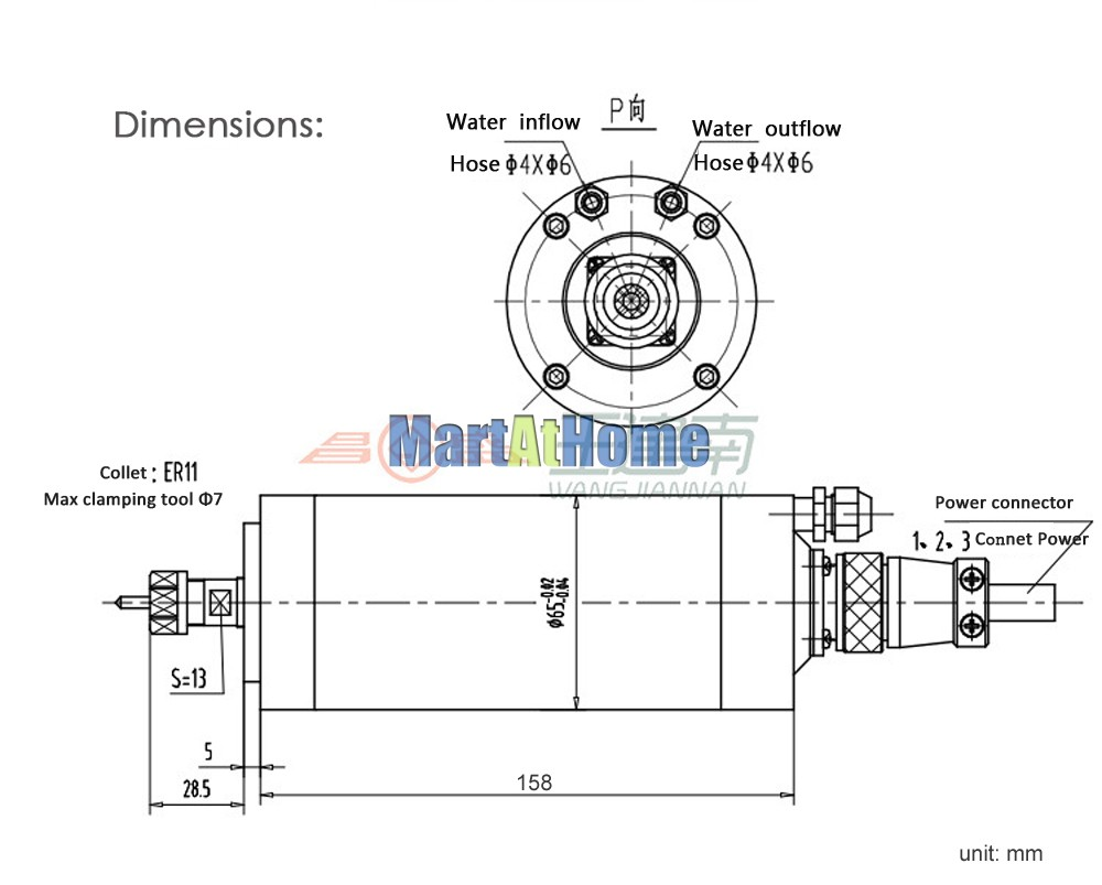High-speed 800W Water-cooling CNC Spindle Motor Dia  65MM 24000rpm 220V  400Hz ER11 0 33Nm 2*Bearings for Engraving