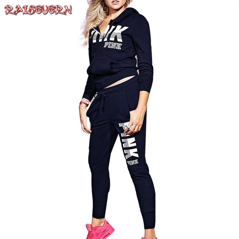 RAISEVERN Pink Letter 2Pieces Women Set Ladies Tracksuit Zipper Hoodies Sweatshirt+Pants Sets Lady Leisure Casual Wear Plus Size