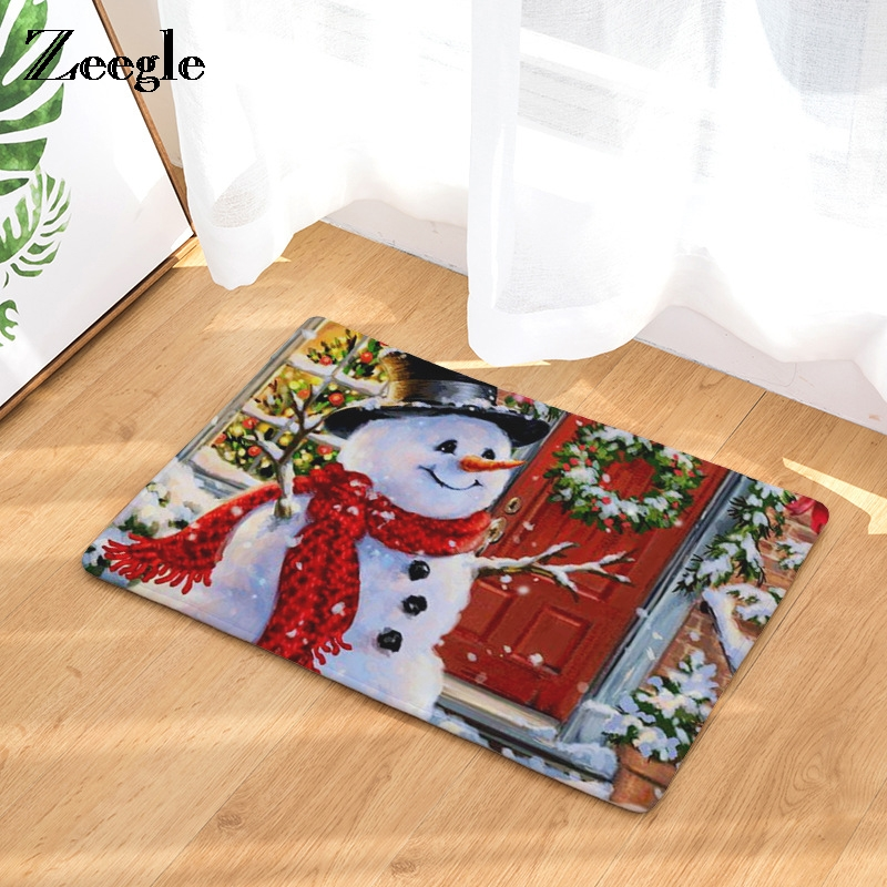 Zeegle Christams Snowman Printed Corridor Mat Welcome Entrance Door Mats Anti-slip Bedroom Carpet Kitchen Rugs Home Decor Crafts