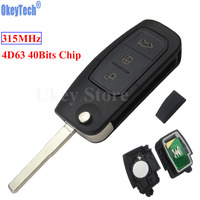 OkeyTech 3 Buttons 315MHz 4D63 Chip Keyless Entry Fob Car Remote Key For Ford Mondeo Focus
