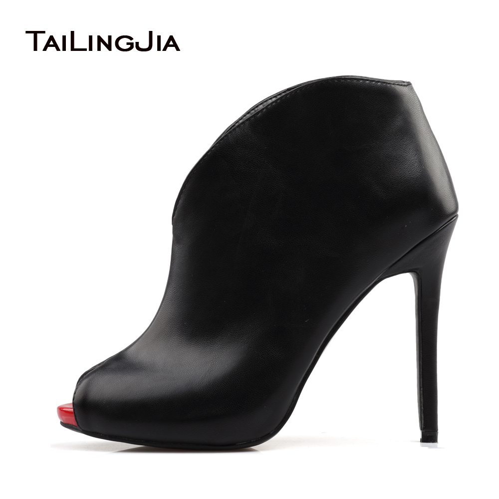 Ladies Boots 2017 Autumn Sexy Peep Toe Slip On Stiletto Heel Ankle Boots For Women Evening Dress Shoes Custom Plus Size EU 34-46 real image blue womens sandals cheap modest slip on new arrive hot ladies evening shoes custom made sandales femmes sexy