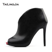 Ladies Boots 2017 Autumn Sexy Peep Toe Slip On Stiletto Heel Ankle Boots For Women Evening Dress Shoes Custom Plus Size EU 34 46
