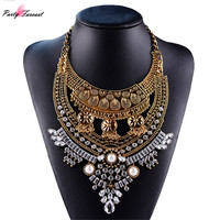 PF Ancient Gold Tassel Necklace Collier High Quality Vintage Jewelry Statement Chokers Necklace Pendants Gift Free