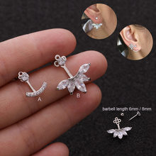 1PC New Arrival Ear Piercing Jewelry 20g Stainless Steel Barbell With Cz Screw Back Stud Earring(China)