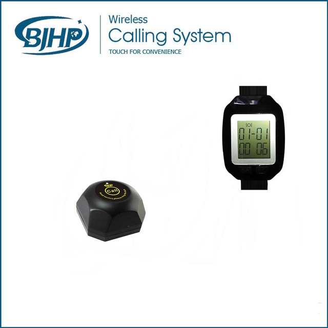 Restaurante sistema de chamada sem fio garçom chamada botão C100 * 5 pcs + receptor relógio S800 * 1 pcs