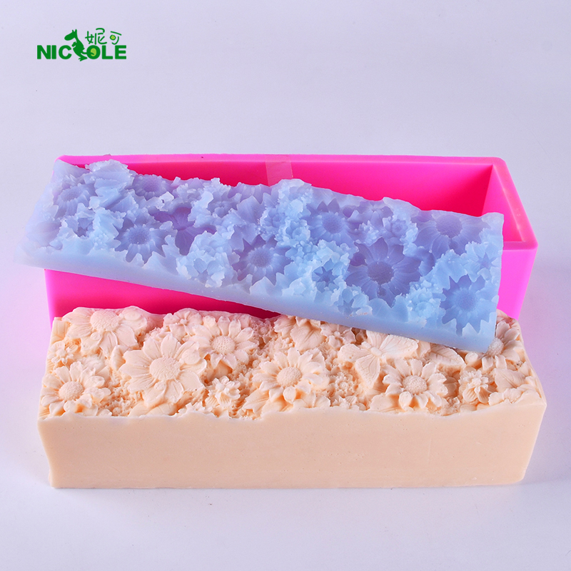 Nicole Loaf Silicone Soap Mold Set Rectangular Toast Mould with Flower Mat for Handmade Decoration
