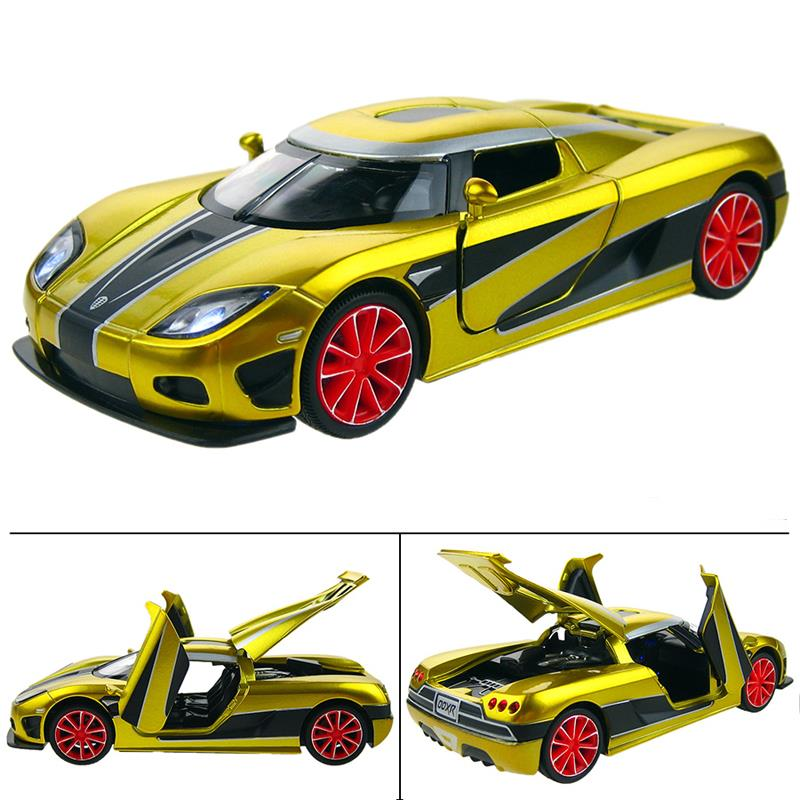 Supercar Model Cars Metal Hot Wheels Toys Back Force Music