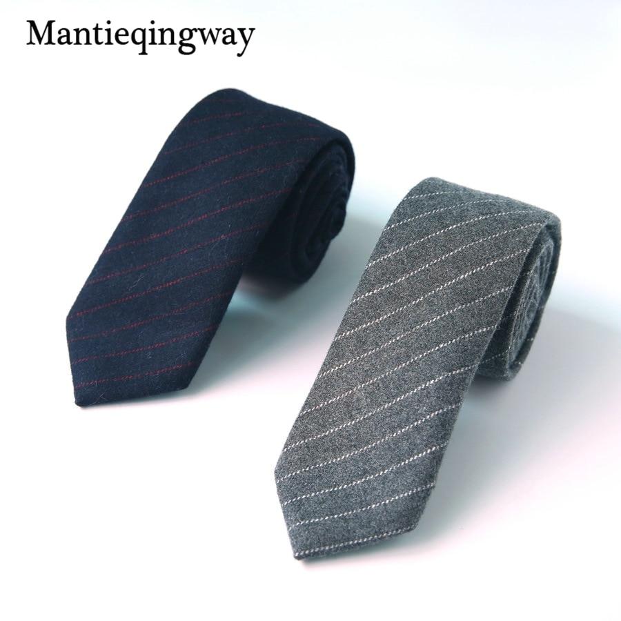 7cm Wool Ties Necktie For Wedding Party Business Solid Color Wool Neck Tie Corbatas Hombre Gravatas Slim Cravat