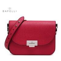 BAFELLI Split Leather Crossbody Bag Small Solid Flap Women Luxury Shoulder Bag Hot Sale Red White