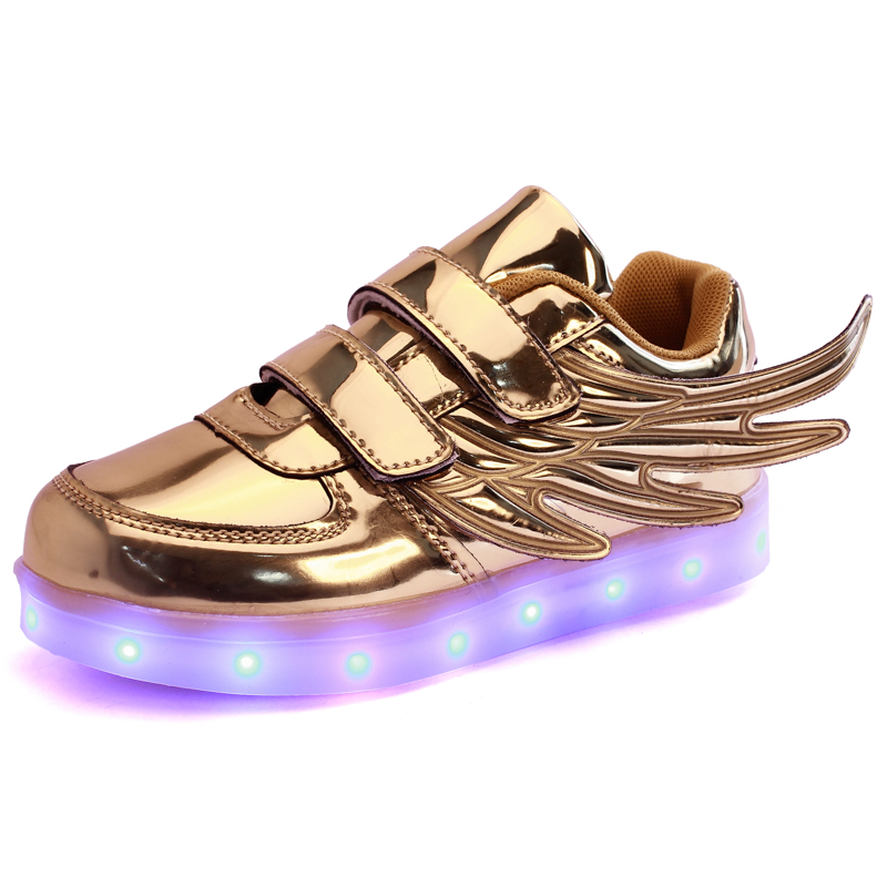 Children s Wings Shoes USB Rechargeable Colorful Luminous Led Wings Sneaker Fashion Kids Wings Sneakers for