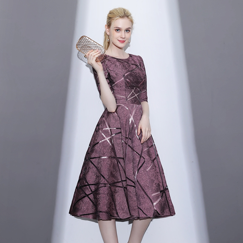 New Banquet Elegant Evening Dresses Red Lace O-neck Tea-length A-line Prom Formal Party Gowns Short Paragraph Dresses LF283