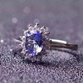 British Kate Princess Diana William Engagement Wedding Blue tanzanite 925 Solid Sterling Silver natural tanzaniten wedding ring
