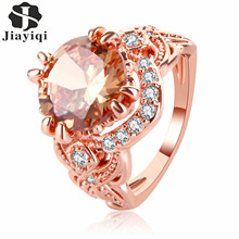 ФОТО 2017 top quality luxury woman ring silver/rose gold color perfect cut cubic zirconia ladies engagement ring with free gift box