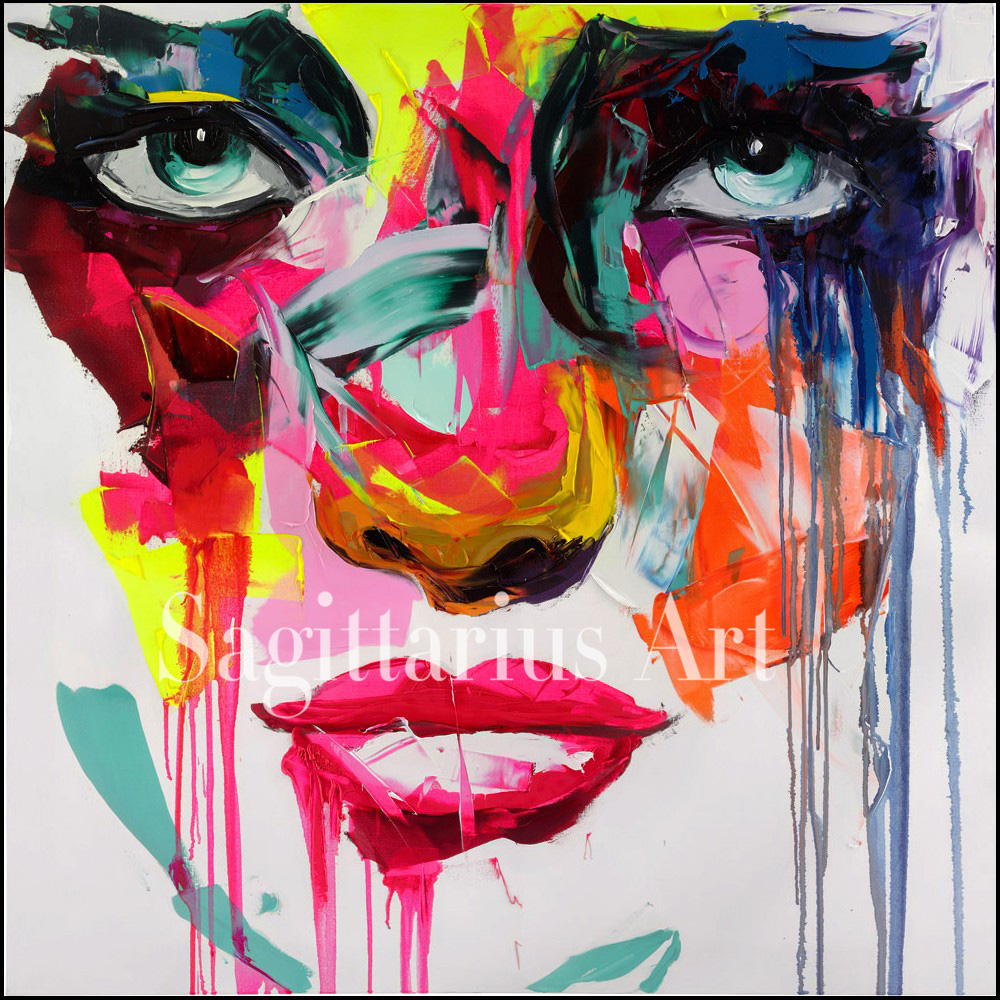 Hand Painted Abstract PAOLA From The Francoise Nielly font b Knife b font Palette oil Paintings