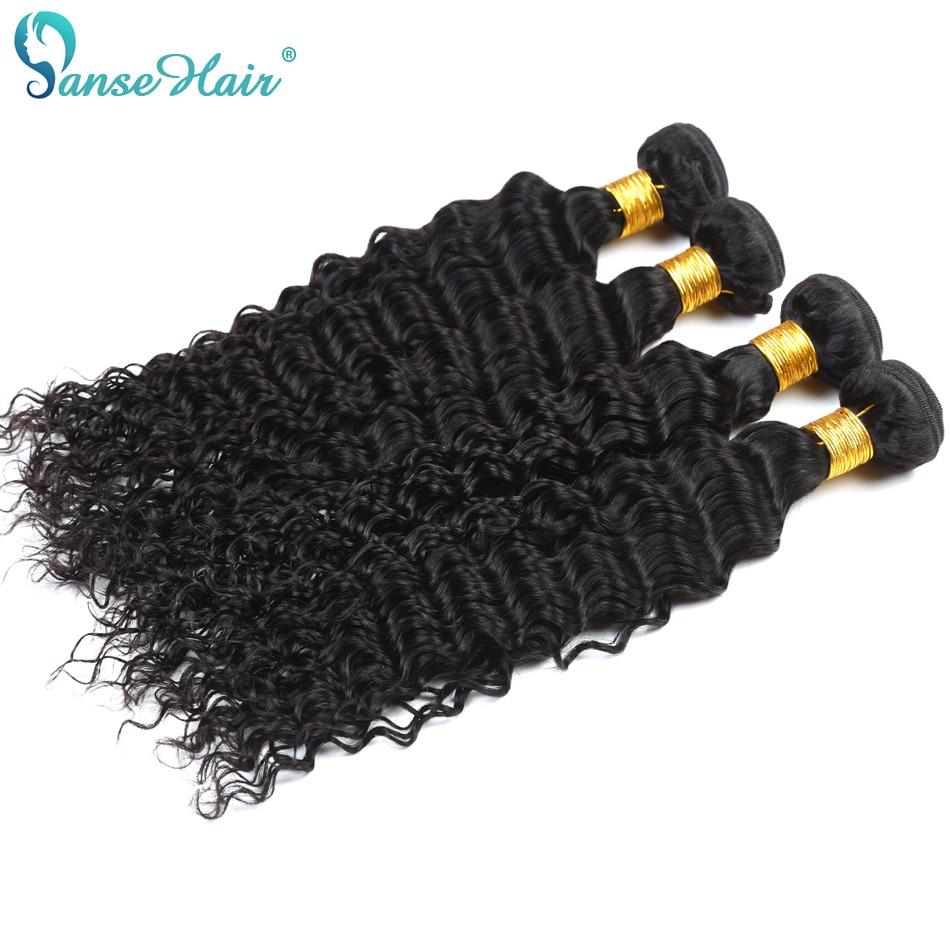 Panse Hair Deep Wave 4 Bundles Per Lot Malaysian Human Hair Weaving - Mänskligt hår (svart) - Foto 4