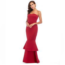 цена на S-2XL women fashion off shoulder strapless dress brand lady summer casual maxi dress night club evening party fishtail dress