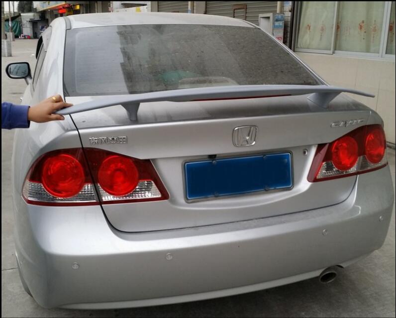 JIOYNG ABS PRIMER CAR REAR WING TRUNK LIP SPOILER FOR HONDA CIVIC 2006 -2015 (With LED LAMP)