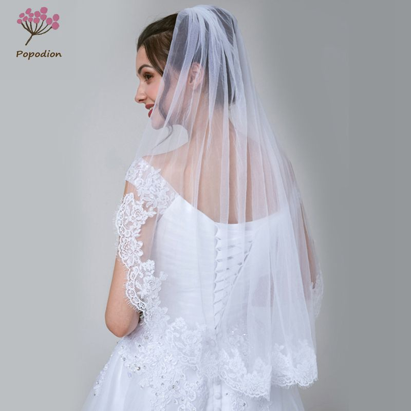 Popodion simple wedding veil applique bridal veil wedding accessories voile mariage welon WAS10128