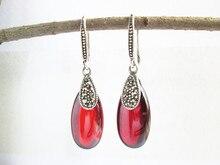 KJJEAXCMY fine jewelry S925 pure silver Thai silver jewelry inlaid garnet lady earrings earrings kjjeaxcmy fine jewelry 925 thai silver garnet thai onyx ginkgo biloba open ring ring