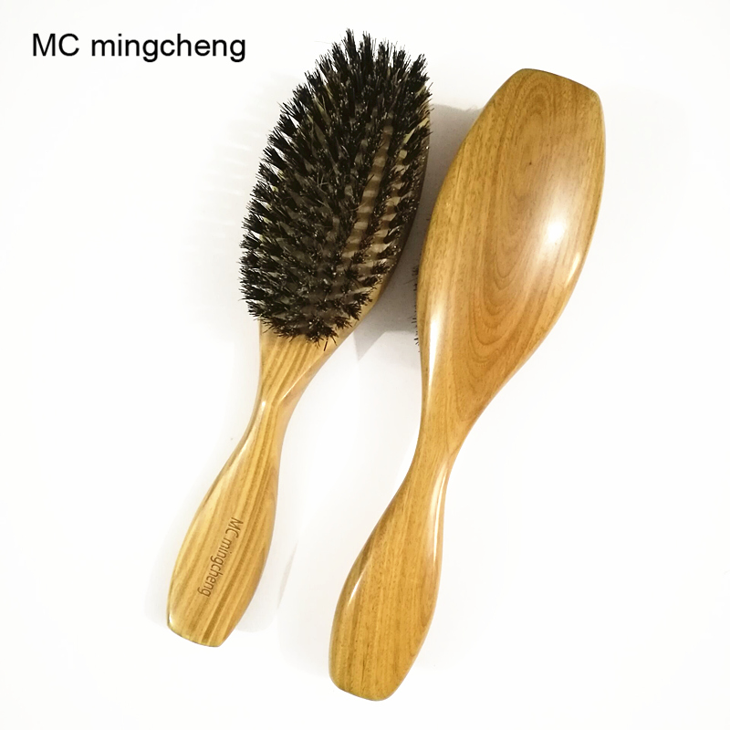 MC Free Shipping Wooden Massage Comb Natural Wild Boar Bristles Wooden Comb Hair Brush Sandalwood Handle Brosse Hair Care Comb large panel natural wooden airbag massage hair health care comb wood black