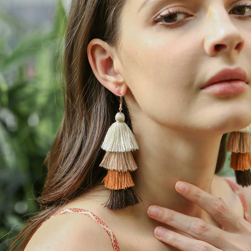BOB IGIULAI Bohemia 4-layer Tassel Earrings Women Earrings 2019 Manual Long Earrings Jewelry Tassel Earrings Multi Color