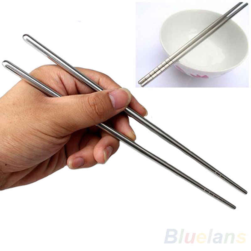 1 Pair Chinese Stainless Steel Chop Sticks Stylish Non-slip Design Chopsticks Kitchen Tools Home Garden Household